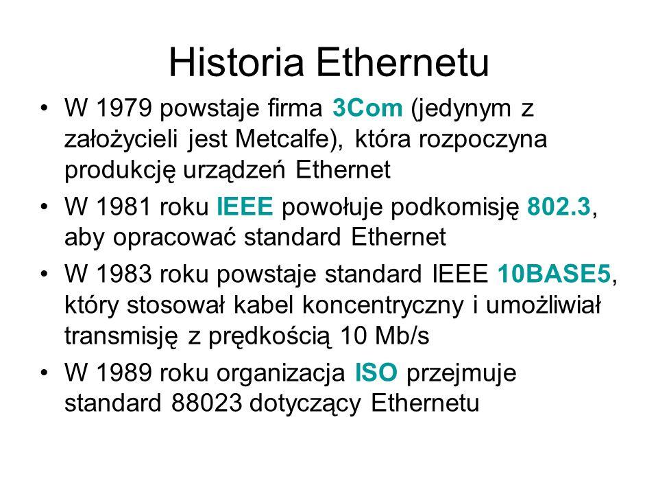 Historia Ethernetu W 1979 powstaje firma 3Com (jedynym z założycieli jest Metcalfe), która rozpoczyna produkcję urządzeń Ethernet.