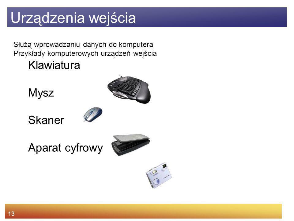 Urządzenia wejścia Klawiatura Mysz Skaner Aparat cyfrowy