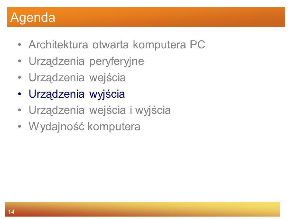 Agenda Architektura otwarta komputera PC Urządzenia peryferyjne