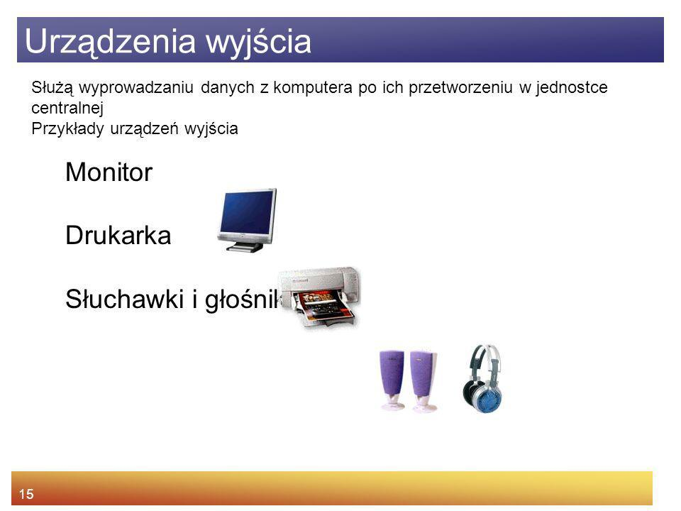 Urządzenia wyjścia Monitor Drukarka Słuchawki i głośnik