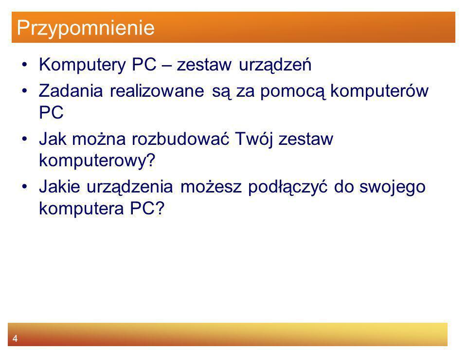 Przypomnienie Komputery PC – zestaw urządzeń