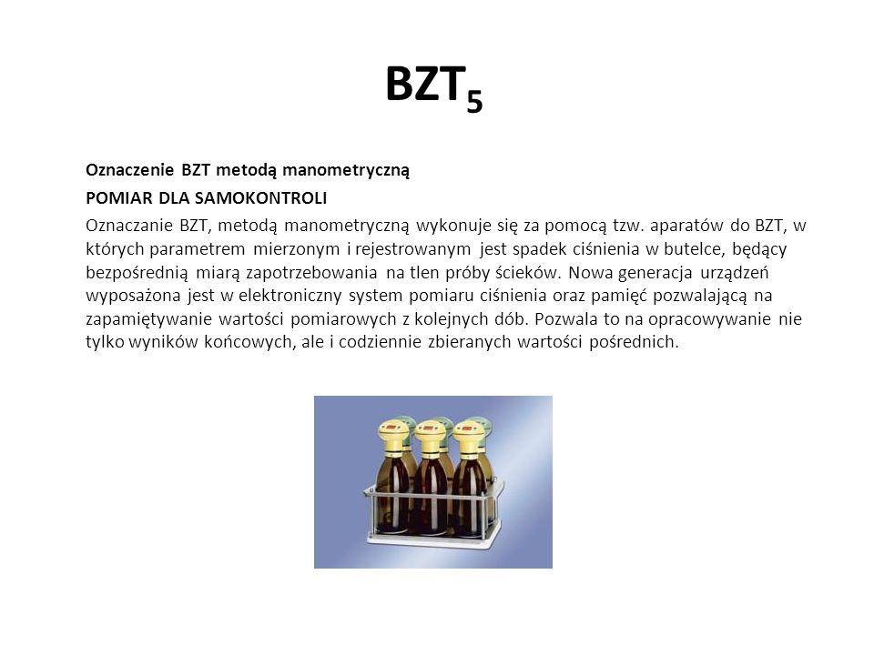 BZT5 Oznaczenie BZT metodą manometryczną POMIAR DLA SAMOKONTROLI