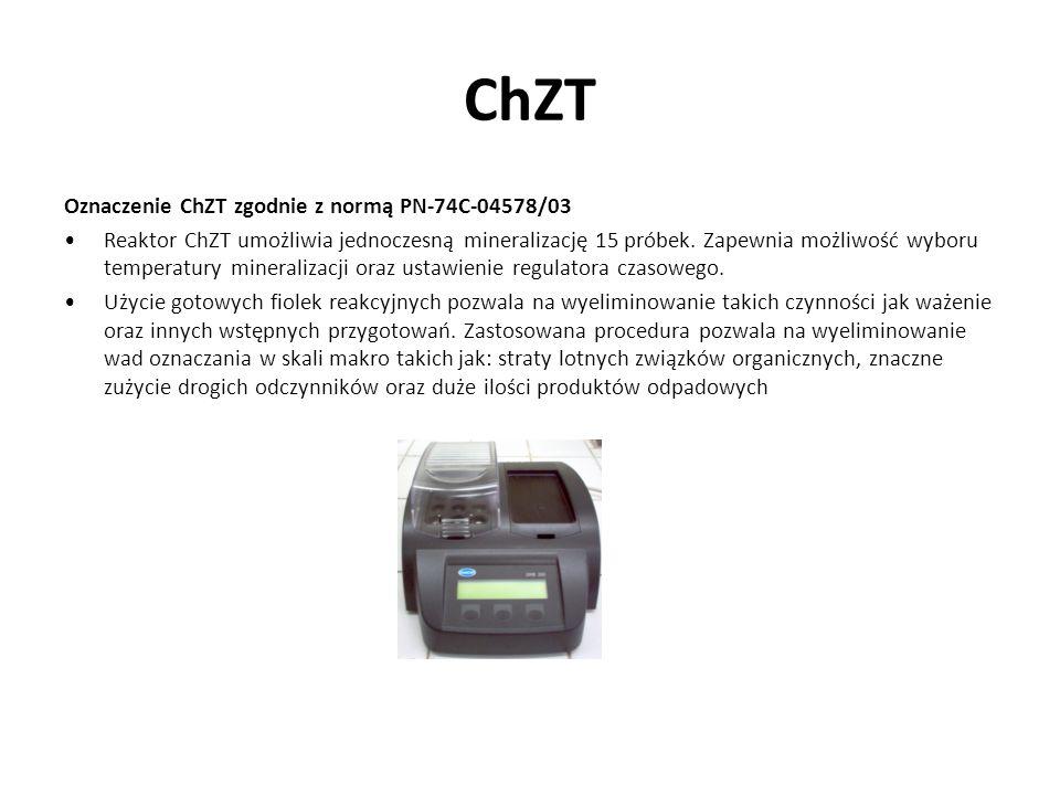 ChZT Oznaczenie ChZT zgodnie z normą PN-74C-04578/03