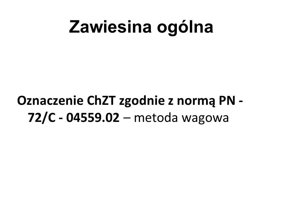 Zawiesina ogólna Oznaczenie ChZT zgodnie z normą PN - 72/C - 04559.02 – metoda wagowa