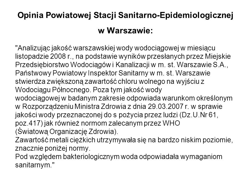 Opinia Powiatowej Stacji Sanitarno-Epidemiologicznej w Warszawie:
