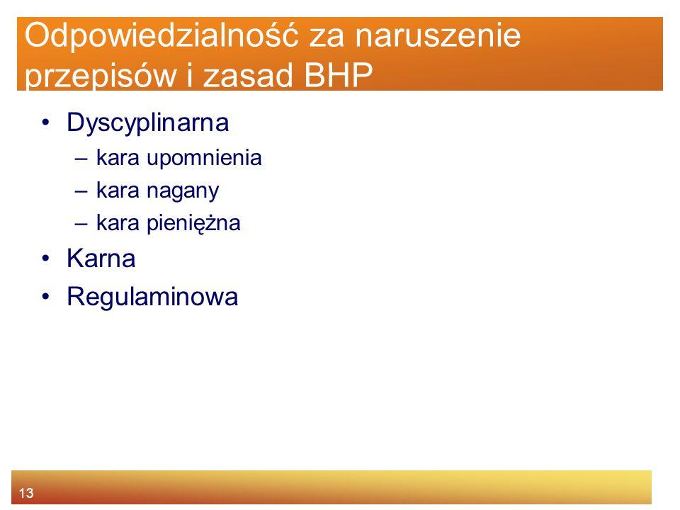 Odpowiedzialność za naruszenie przepisów i zasad BHP