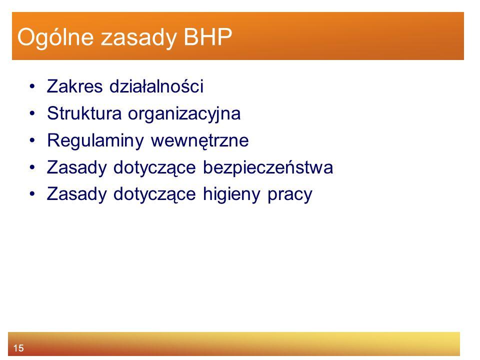 Ogólne zasady BHP Zakres działalności Struktura organizacyjna
