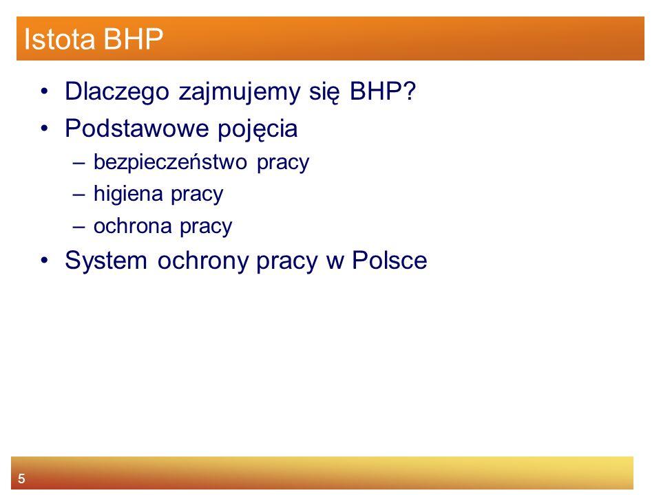 Istota BHP Dlaczego zajmujemy się BHP Podstawowe pojęcia