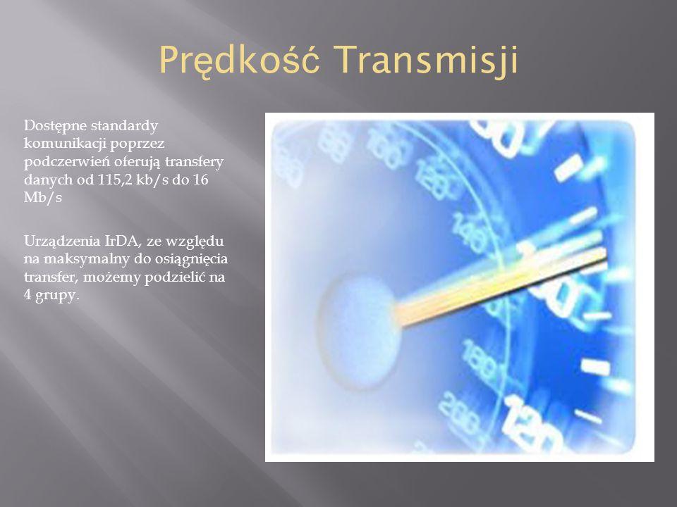 Prędkość TransmisjiDostępne standardy komunikacji poprzez podczerwień oferują transfery danych od 115,2 kb/s do 16 Mb/s.