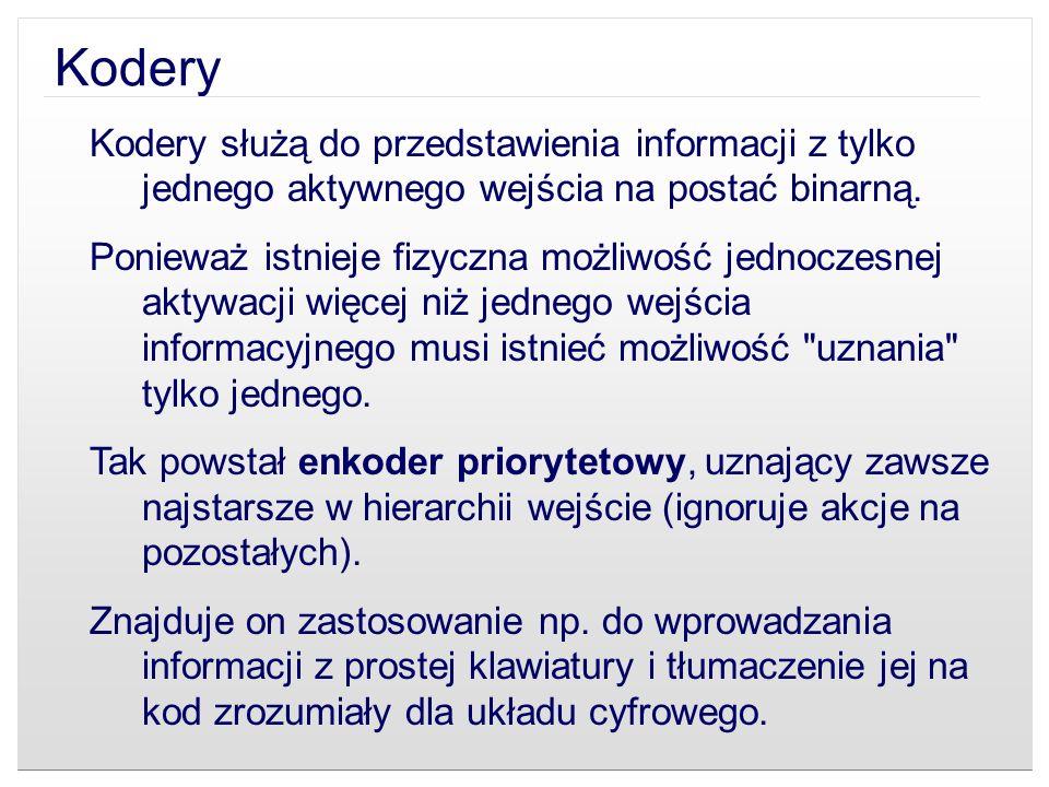 Kodery Kodery służą do przedstawienia informacji z tylko jednego aktywnego wejścia na postać binarną.