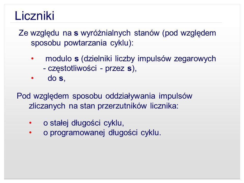 Liczniki Ze względu na s wyróżnialnych stanów (pod względem sposobu powtarzania cyklu):