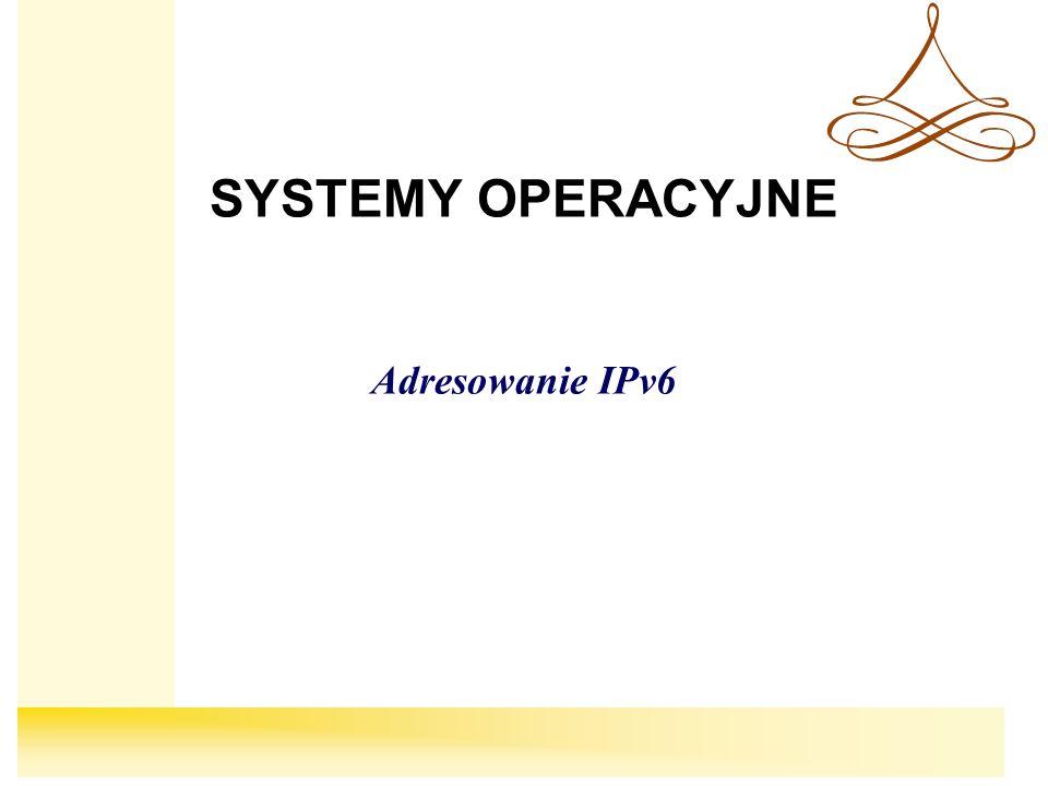 SYSTEMY OPERACYJNE Adresowanie IPv6
