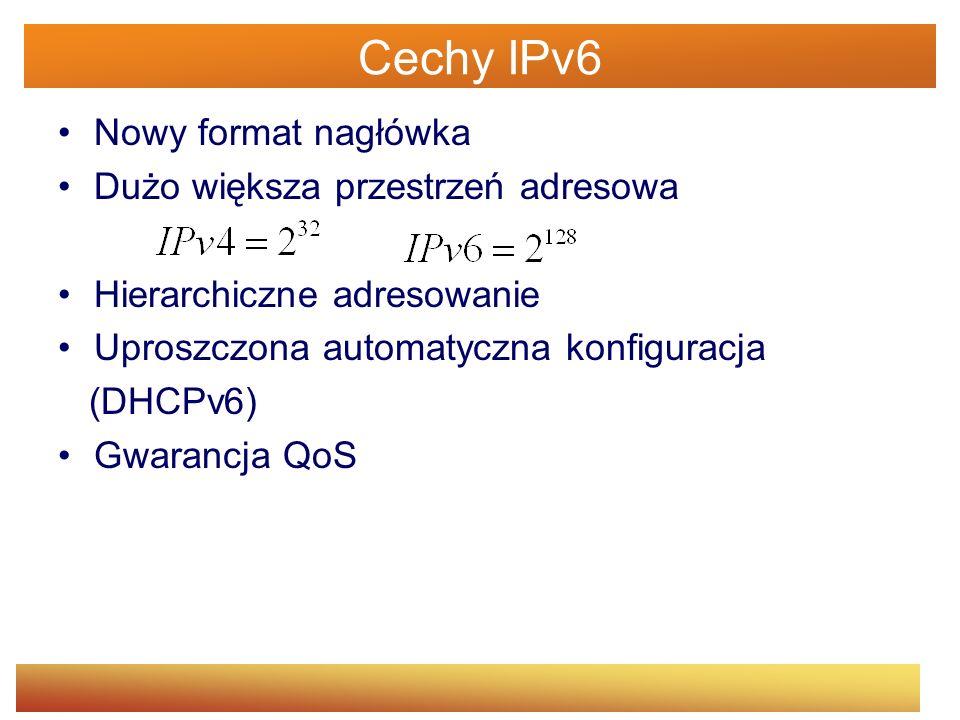 Cechy IPv6 Nowy format nagłówka Dużo większa przestrzeń adresowa