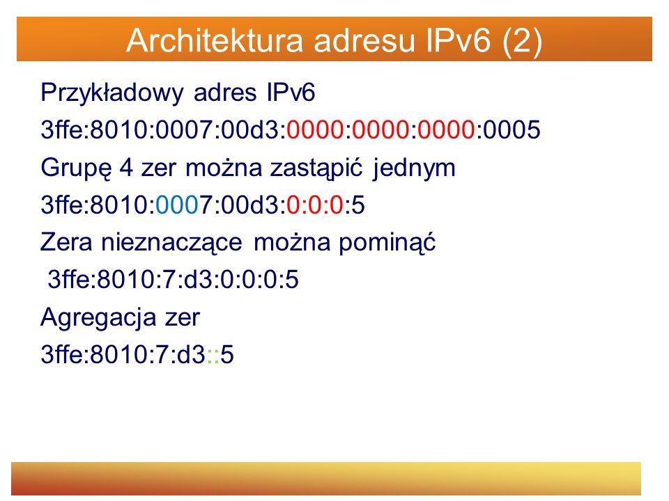 Architektura adresu IPv6 (2)