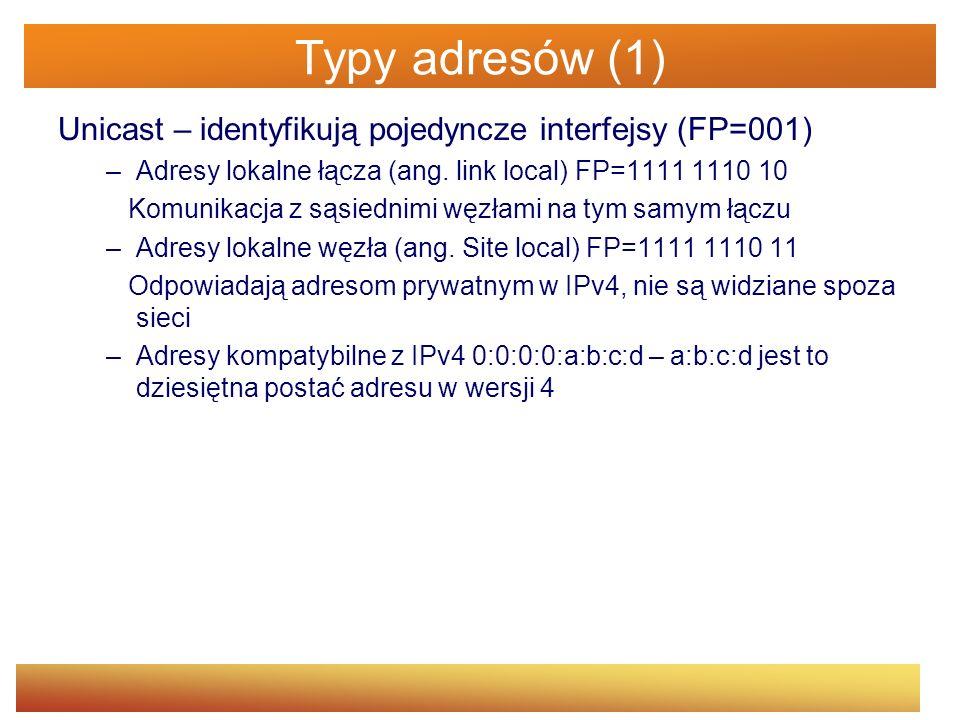 Typy adresów (1) Unicast – identyfikują pojedyncze interfejsy (FP=001)