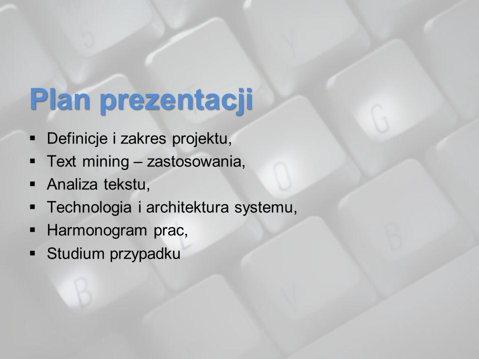 Plan prezentacji Definicje i zakres projektu,