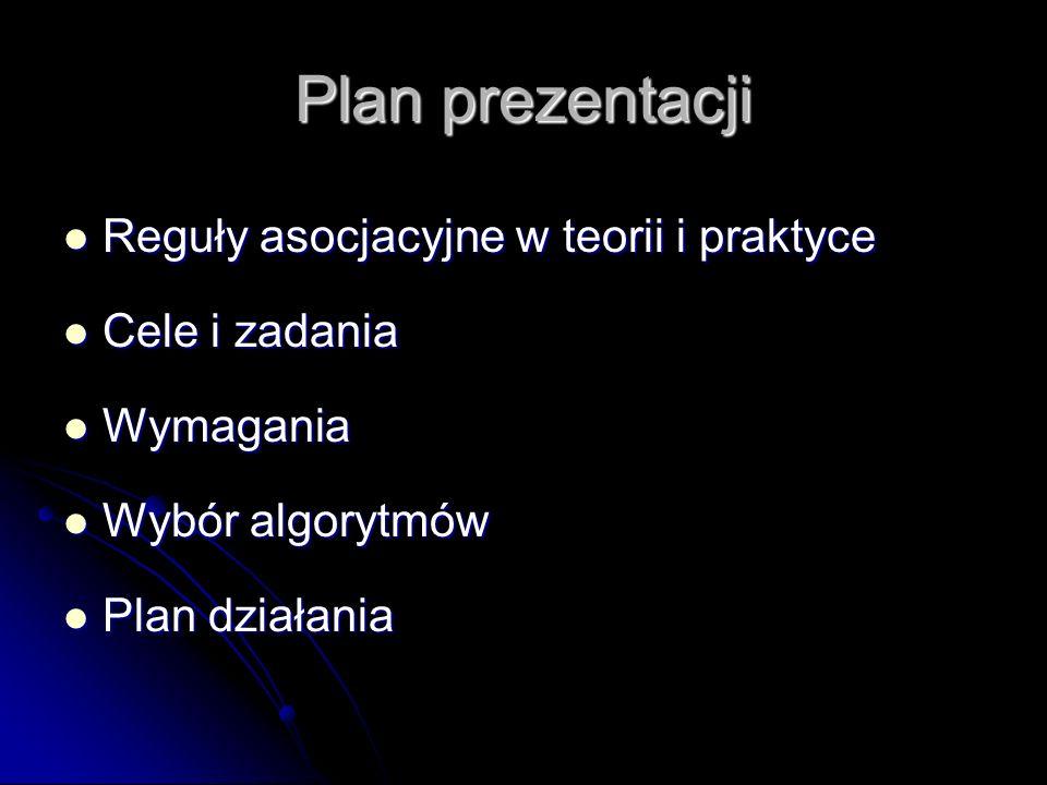 Plan prezentacji Reguły asocjacyjne w teorii i praktyce Cele i zadania