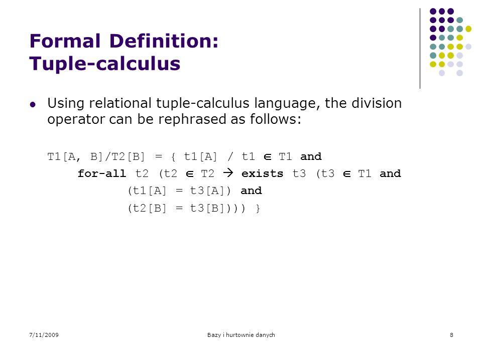 Formal Definition: Tuple-calculus