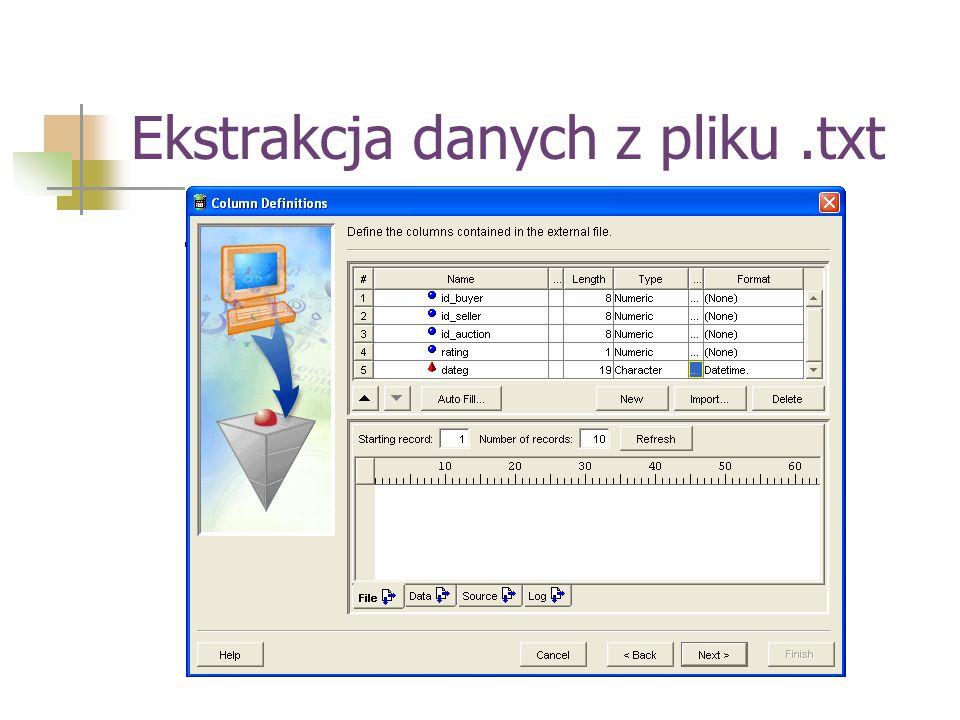 Ekstrakcja danych z pliku .txt