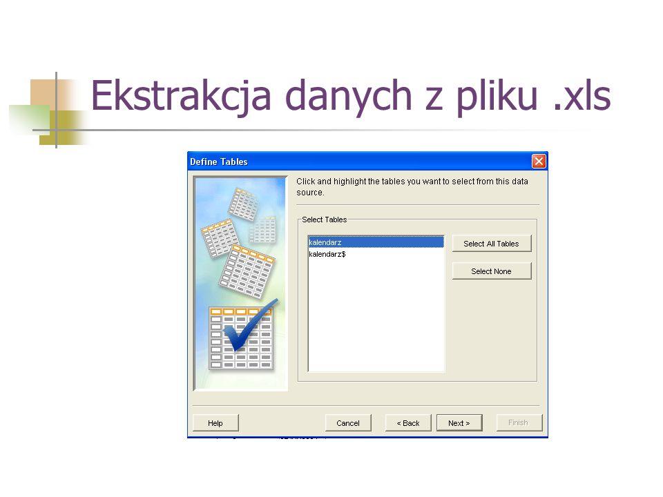 Ekstrakcja danych z pliku .xls