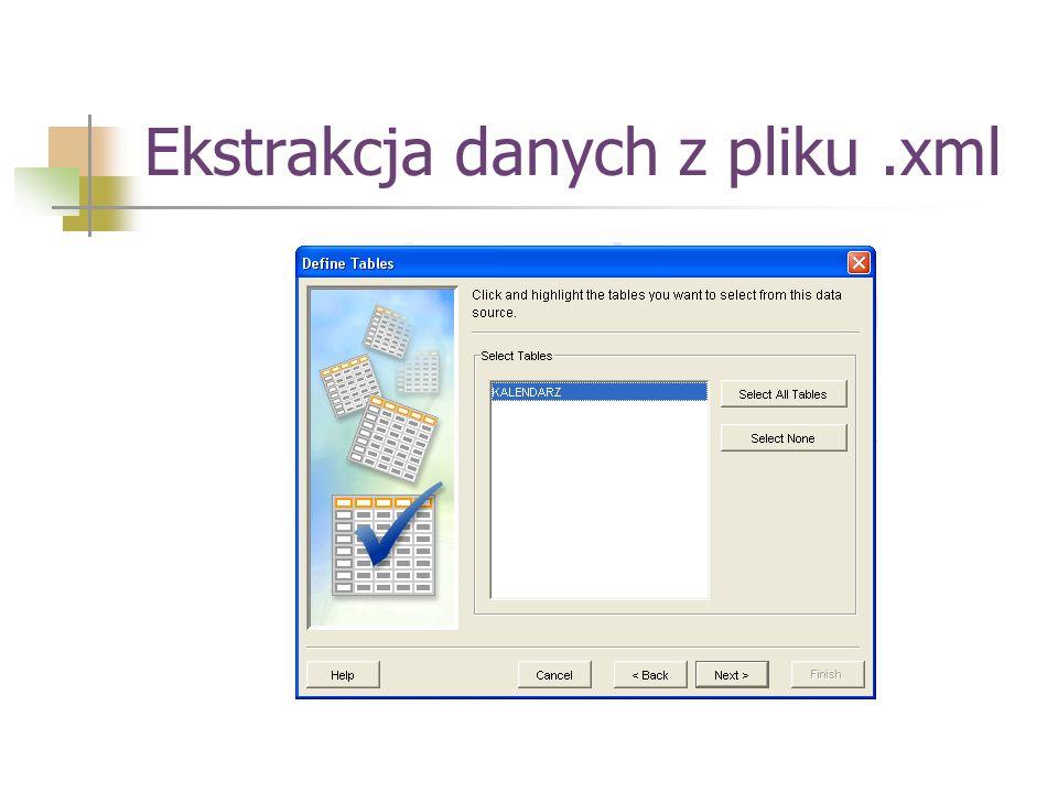 Ekstrakcja danych z pliku .xml