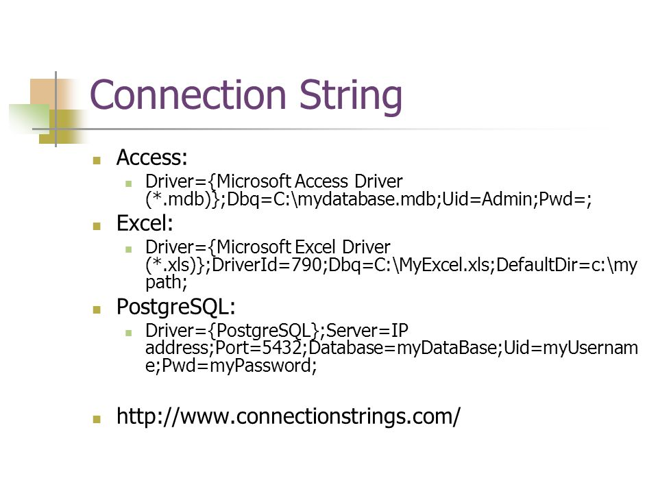 Connection String Access: Excel: PostgreSQL: