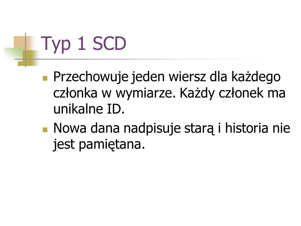 Typ 1 SCD Przechowuje jeden wiersz dla każdego członka w wymiarze. Każdy członek ma unikalne ID.
