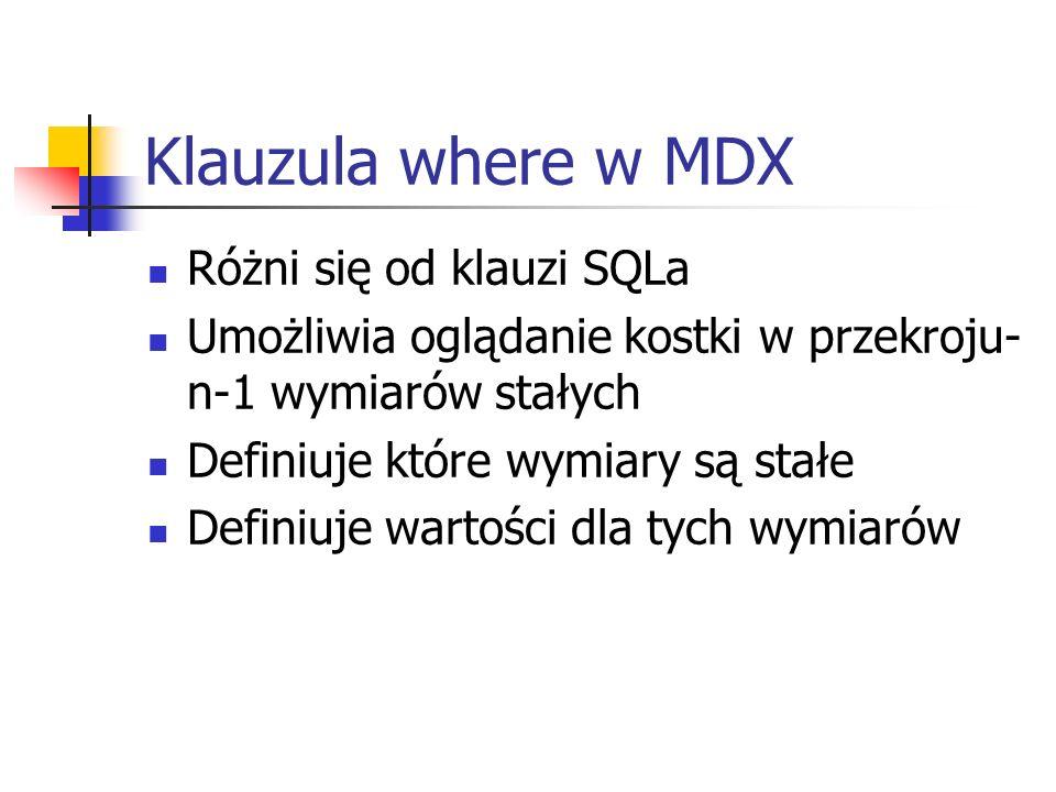 Klauzula where w MDX Różni się od klauzi SQLa