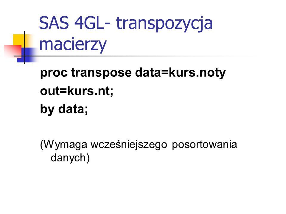 SAS 4GL- transpozycja macierzy