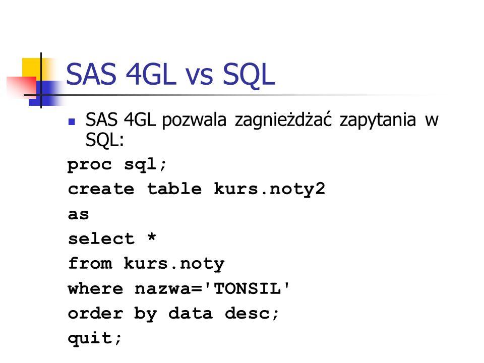 SAS 4GL vs SQL SAS 4GL pozwala zagnieżdżać zapytania w SQL: proc sql;