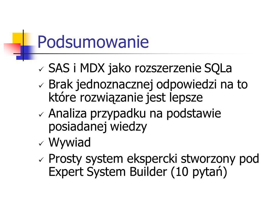 Podsumowanie SAS i MDX jako rozszerzenie SQLa