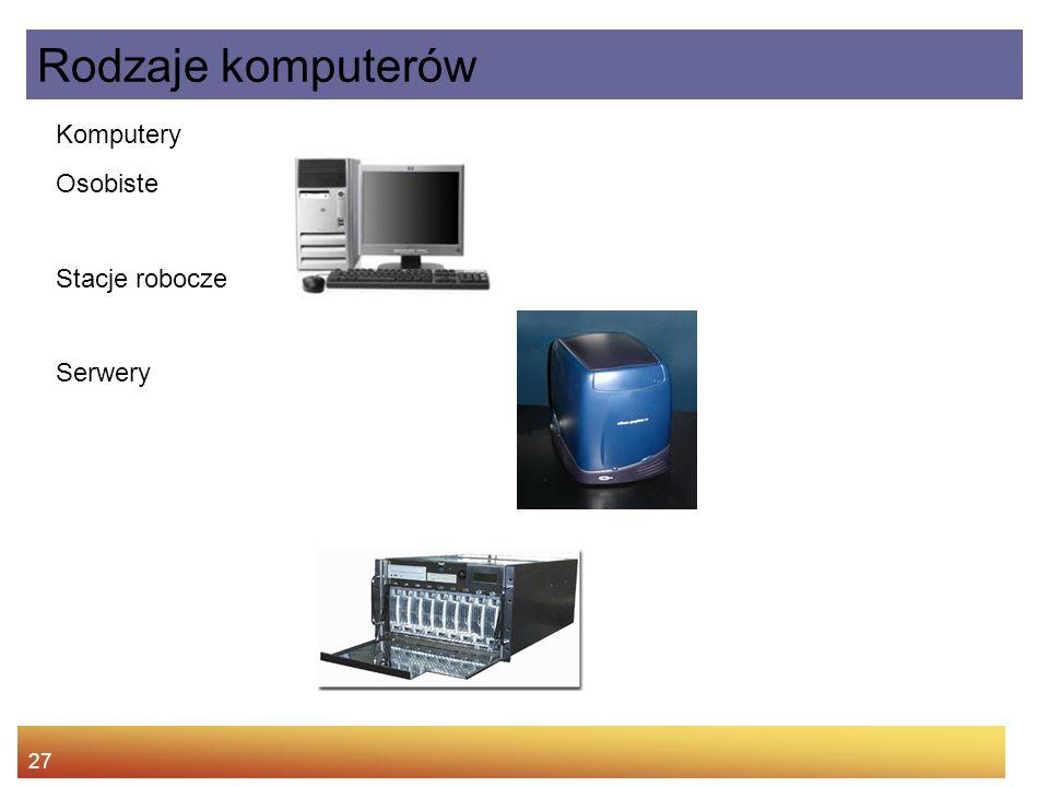 Rodzaje komputerów Komputery Osobiste Stacje robocze Serwery