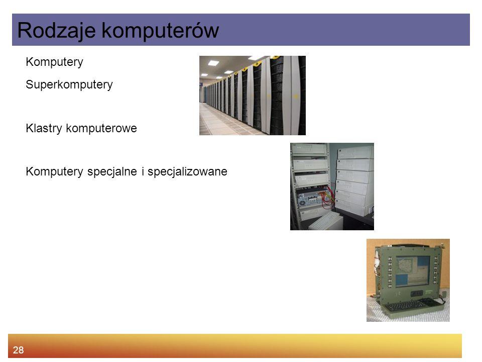 Rodzaje komputerów Komputery Superkomputery Klastry komputerowe