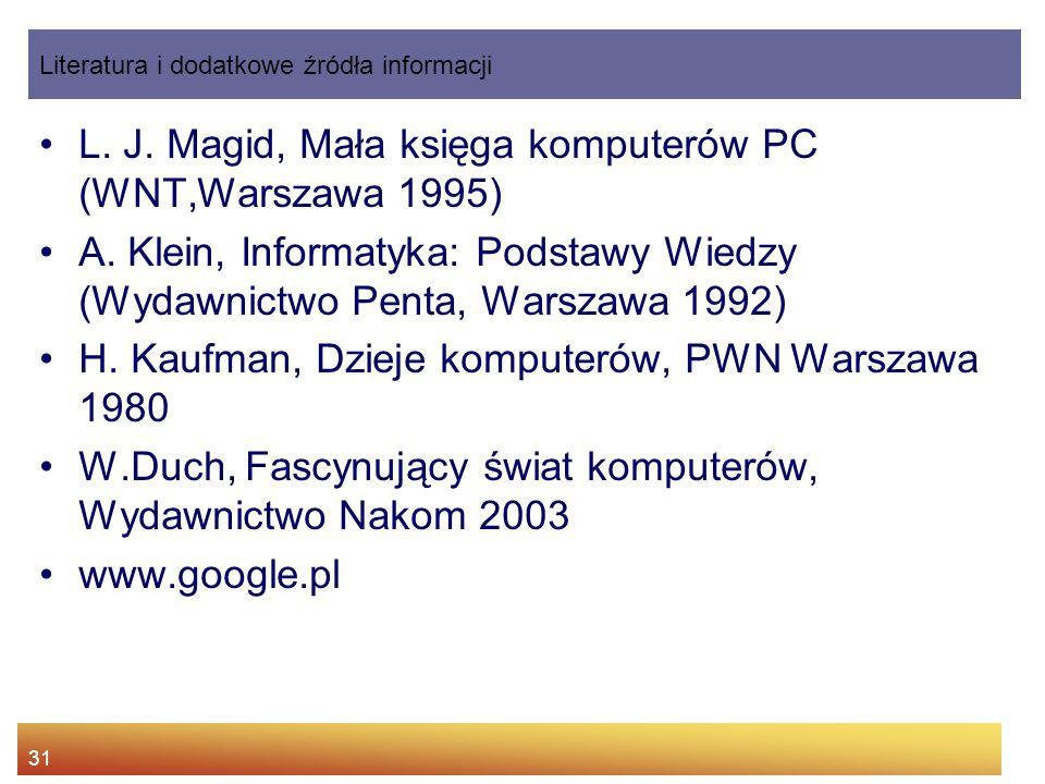 L. J. Magid, Mała księga komputerów PC (WNT,Warszawa 1995)