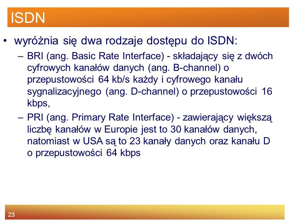 ISDN wyróżnia się dwa rodzaje dostępu do ISDN: