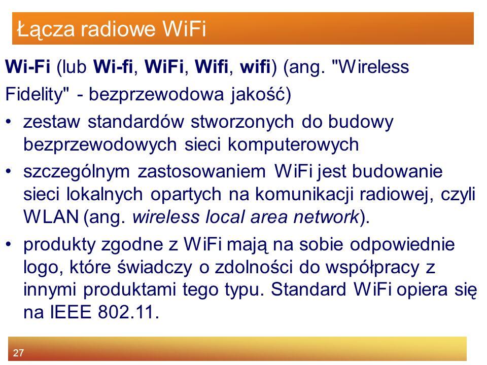 Łącza radiowe WiFi Wi-Fi (lub Wi-fi, WiFi, Wifi, wifi) (ang. Wireless