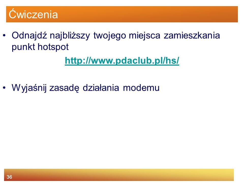 Ćwiczenia Odnajdź najbliższy twojego miejsca zamieszkania punkt hotspot. http://www.pdaclub.pl/hs/