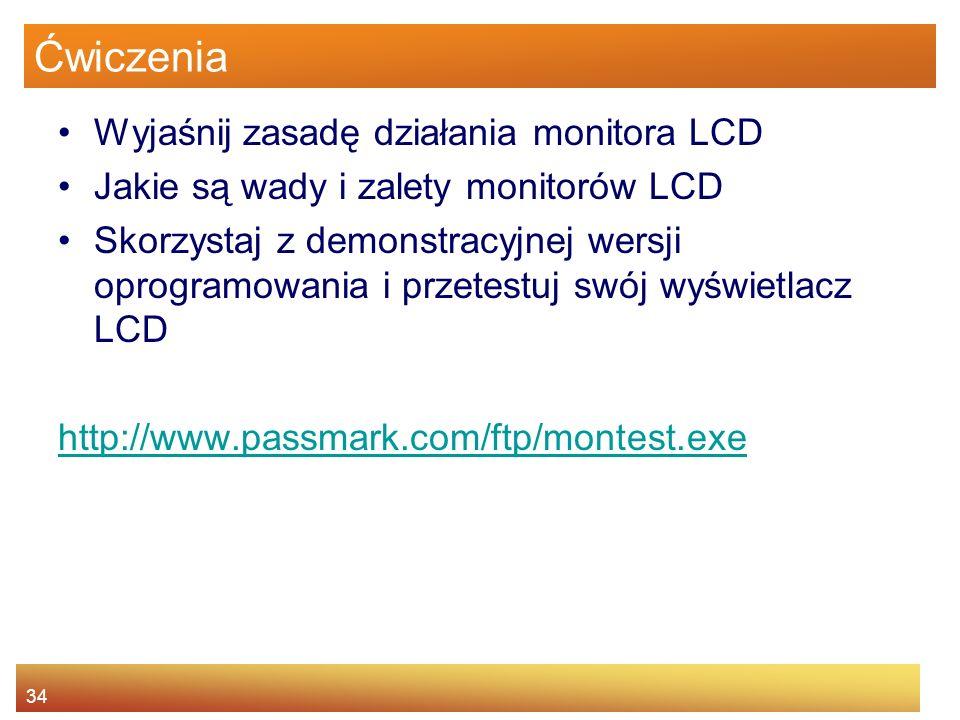 Ćwiczenia Wyjaśnij zasadę działania monitora LCD