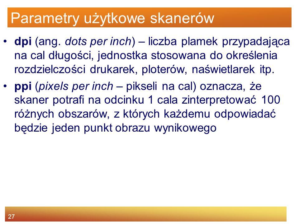 Parametry użytkowe skanerów