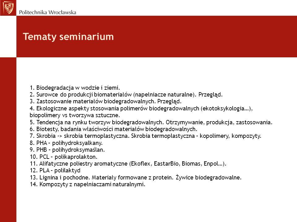 Tematy seminarium 1. Biodegradacja w wodzie i ziemi.