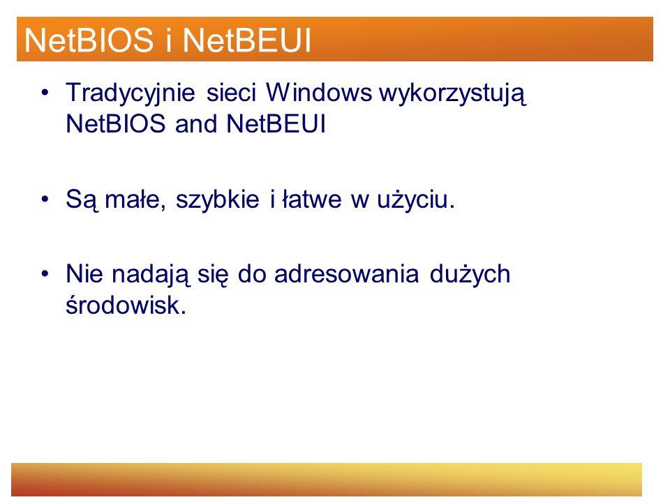 NetBIOS i NetBEUI Tradycyjnie sieci Windows wykorzystują NetBIOS and NetBEUI. Są małe, szybkie i łatwe w użyciu.