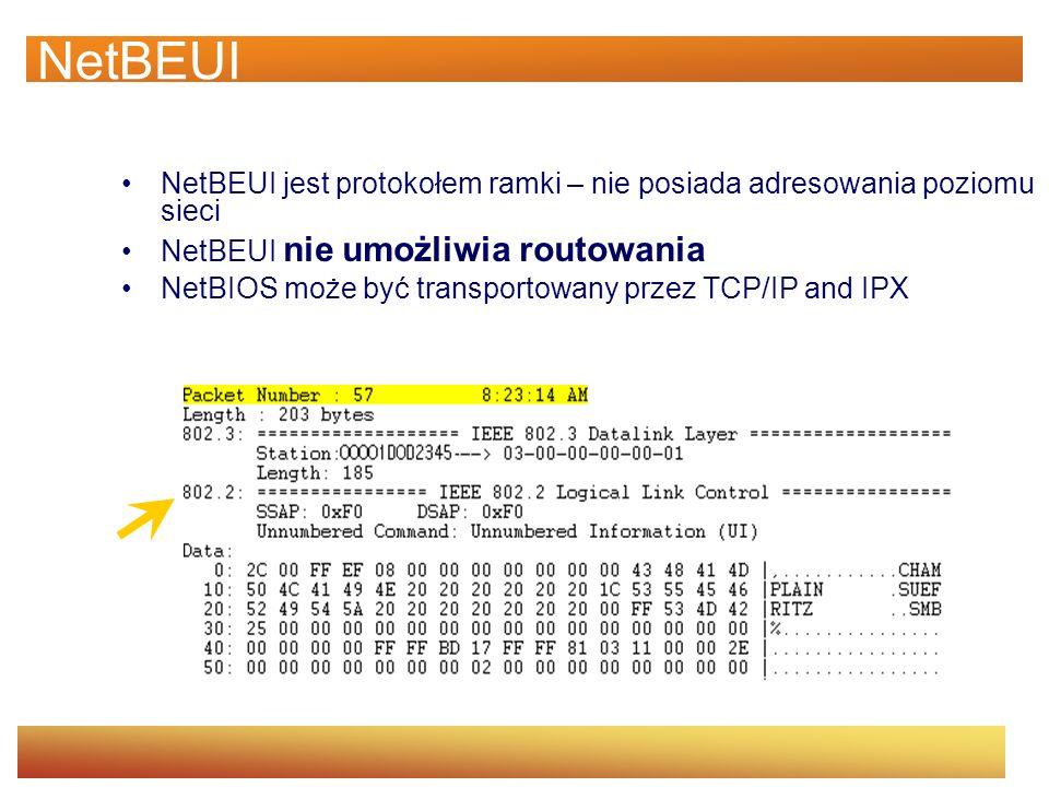 NetBEUI NetBEUI jest protokołem ramki – nie posiada adresowania poziomu sieci. NetBEUI nie umożliwia routowania.