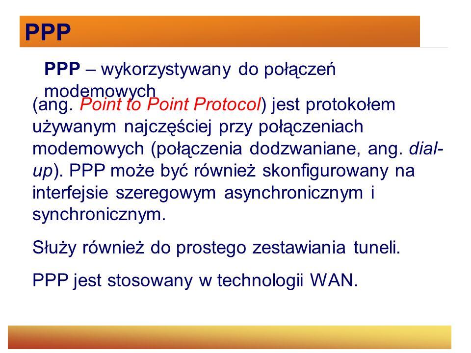 PPP PPP – wykorzystywany do połączeń modemowych