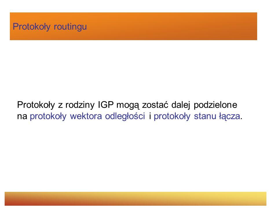 Protokoły routinguProtokoły z rodziny IGP mogą zostać dalej podzielone na protokoły wektora odległości i protokoły stanu łącza.
