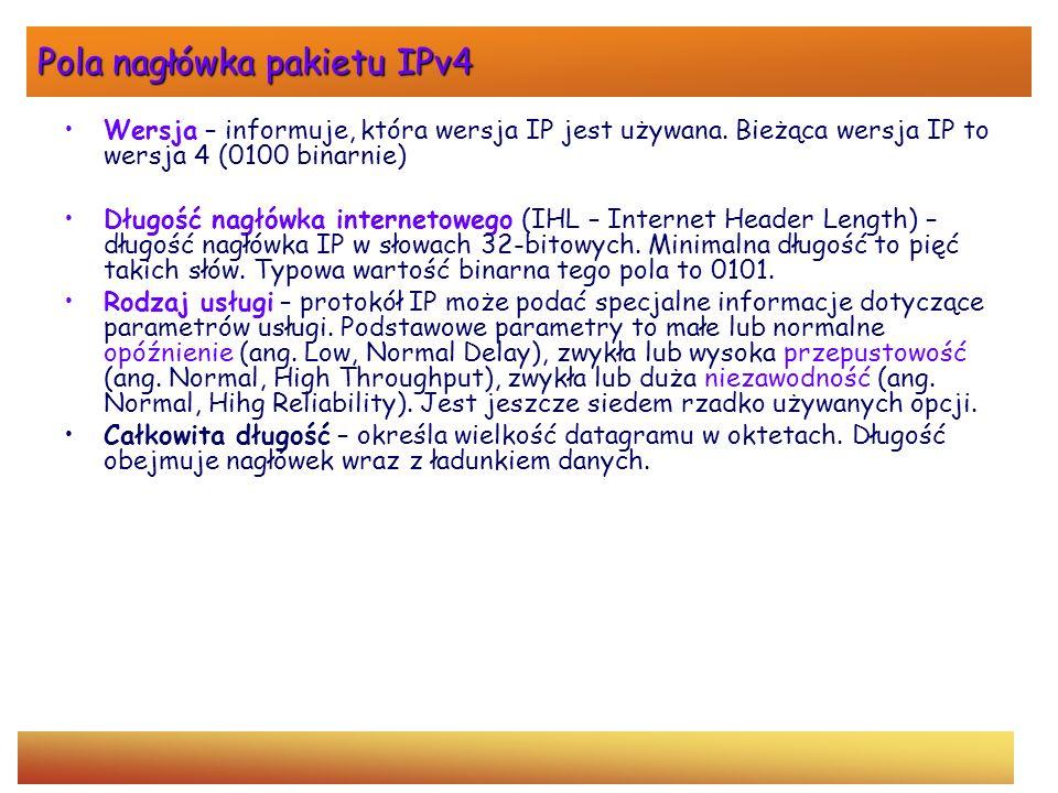Pola nagłówka pakietu IPv4