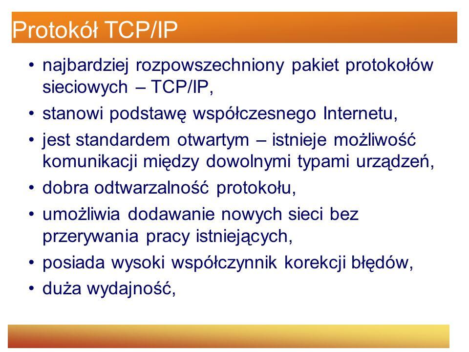 Protokół TCP/IP najbardziej rozpowszechniony pakiet protokołów sieciowych – TCP/IP, stanowi podstawę współczesnego Internetu,