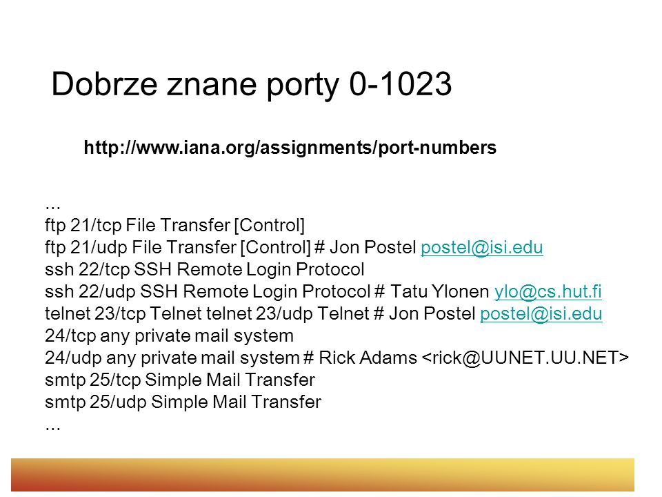 Dobrze znane porty 0-1023 http://www.iana.org/assignments/port-numbers