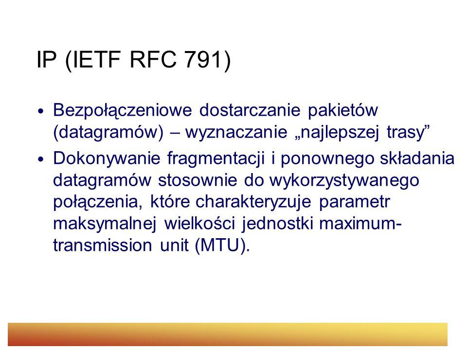 """IP (IETF RFC 791)Bezpołączeniowe dostarczanie pakietów (datagramów) – wyznaczanie """"najlepszej trasy"""