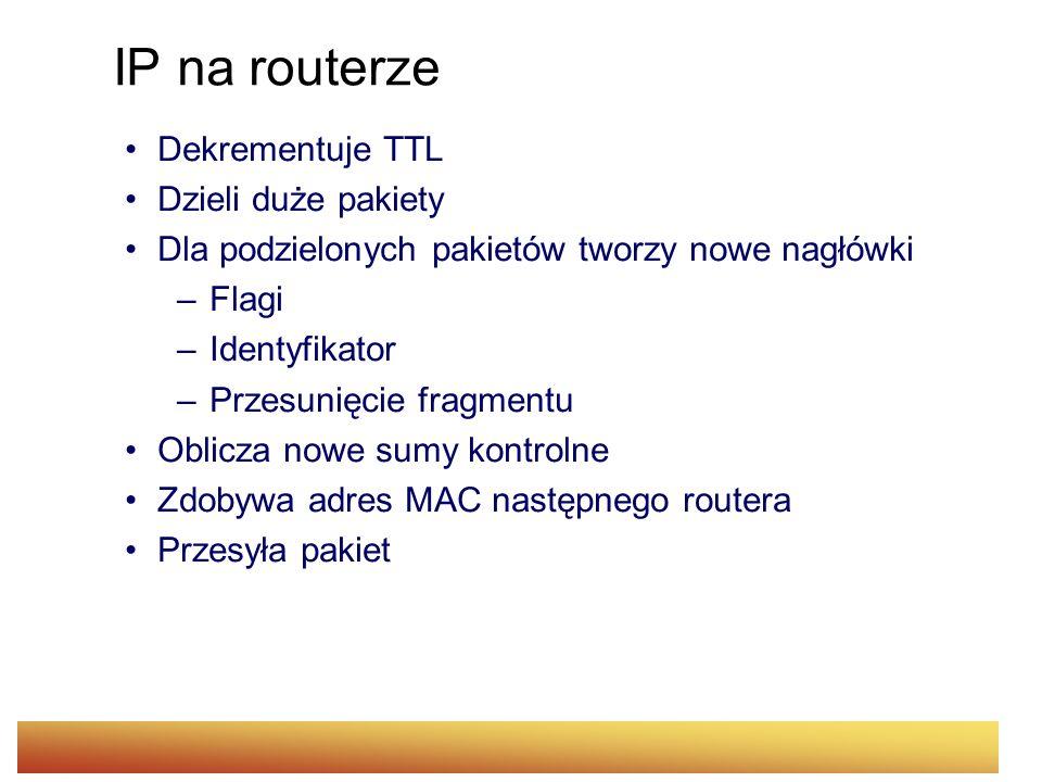 IP na routerze Dekrementuje TTL Dzieli duże pakiety