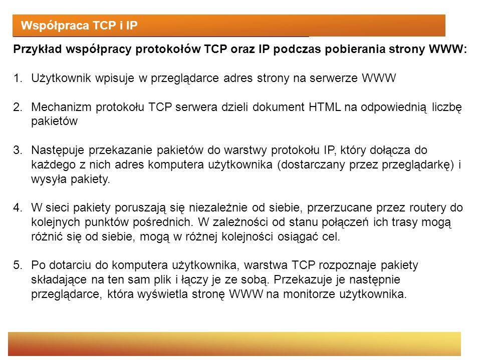 Współpraca TCP i IP Przykład współpracy protokołów TCP oraz IP podczas pobierania strony WWW: